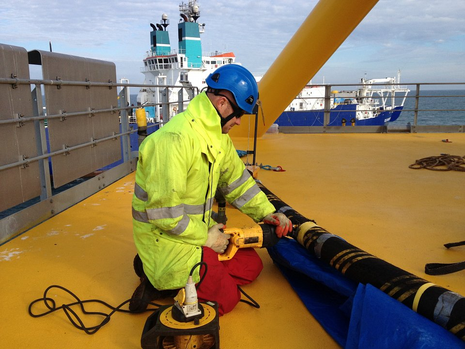 Photo: sub-sea fibre optic cable preparation Eden Optics
